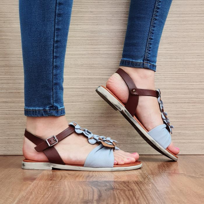 Sandale Piele Naturala Bleu Eliza D02308 0