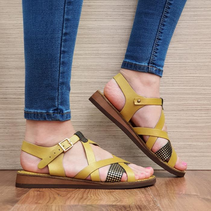 Sandale Piele Naturala Mustar Stephanie 0
