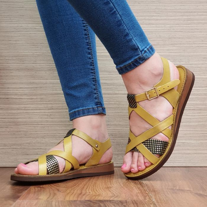 Sandale Piele Naturala Mustar Stephanie 2
