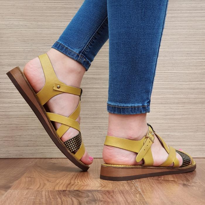 Sandale Piele Naturala Mustar Stephanie 3