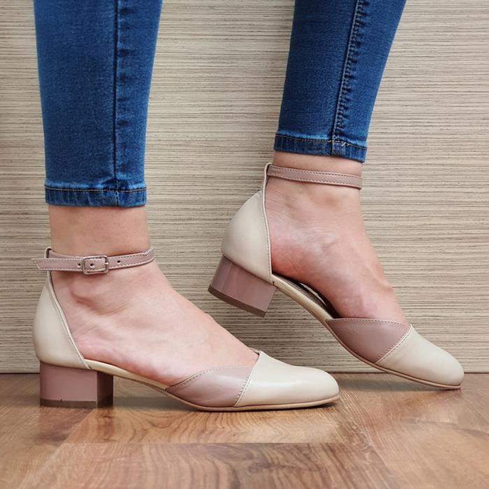 Pantofi Dama Piele Naturala Crem Renee D02315 0