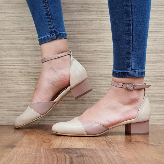 Pantofi Dama Piele Naturala Crem Renee D02315 1