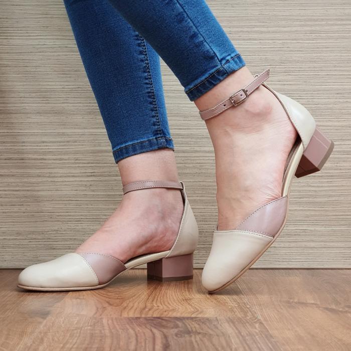 Pantofi Dama Piele Naturala Crem Renee D02315 2