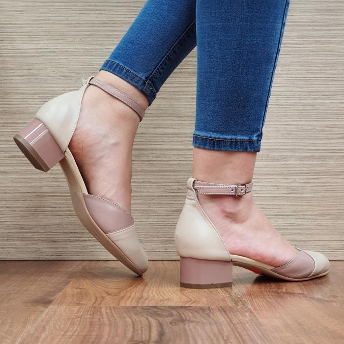 Pantofi Dama Piele Naturala Crem Renee D02315 3