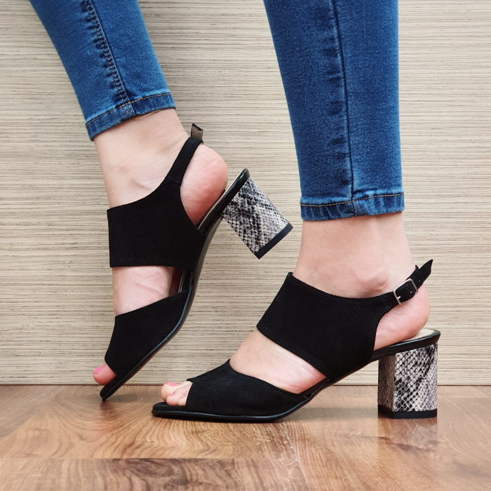 Sandale Piele Naturala Negre Sasha 1