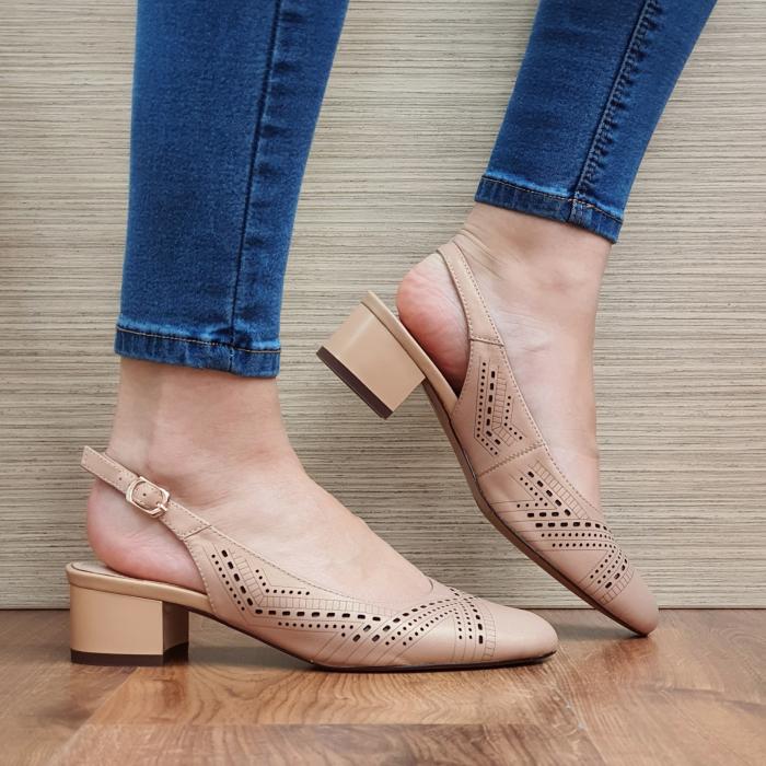 Pantofi Dama Piele Naturala Nude Reni D02319 0
