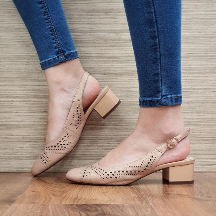 Pantofi Dama Piele Naturala Nude Reni D02319 1