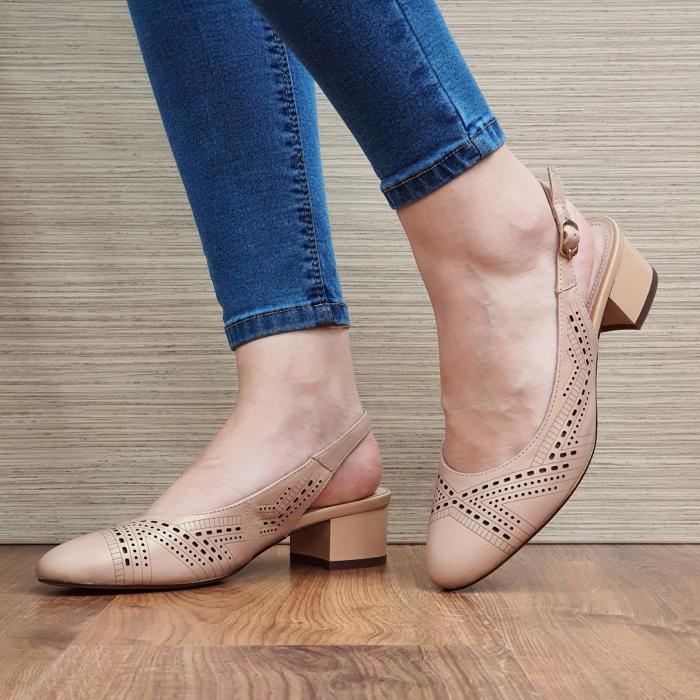 Pantofi Dama Piele Naturala Nude Reni D02319 2
