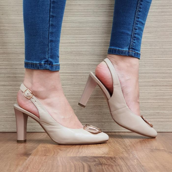 Pantofi Dama Piele Naturala Epica Bej Aria D02320 2