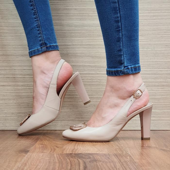 Pantofi Dama Piele Naturala Epica Bej Aria D02320 1