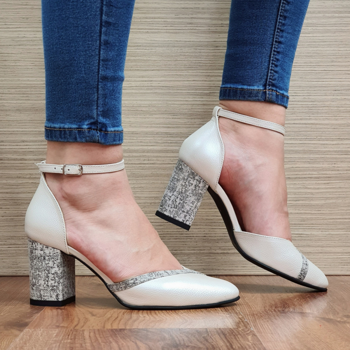 Pantofi Dama Piele Naturala Bej Barbara D02321 0
