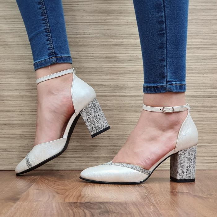 Pantofi Dama Piele Naturala Bej Barbara D02321 1