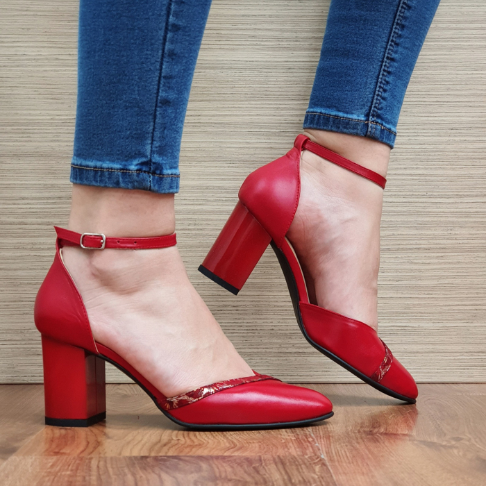 Pantofi Dama Piele Naturala Rosii Barbara D02322 [0]