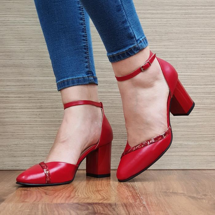 Pantofi Dama Piele Naturala Rosii Barbara D02322 [2]