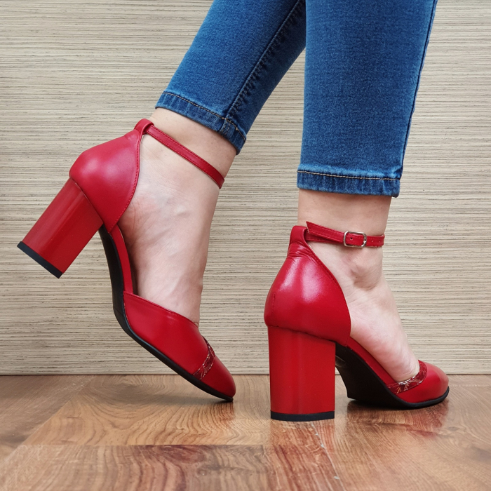 Pantofi Dama Piele Naturala Rosii Barbara D02322 [3]