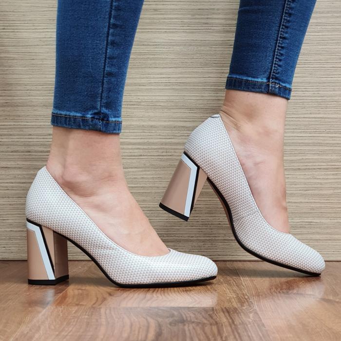 Pantofi cu toc Piele Naturala Epica Nude Lorelei D02329 1