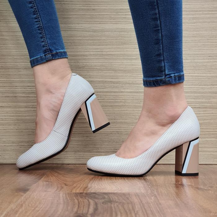 Pantofi cu toc Piele Naturala Epica Nude Lorelei D02329 2