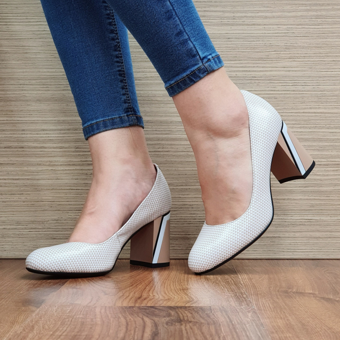 Pantofi cu toc Piele Naturala Epica Nude Lorelei D02329 0