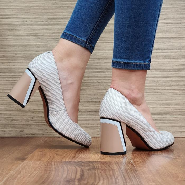 Pantofi cu toc Piele Naturala Epica Nude Lorelei D02329 3