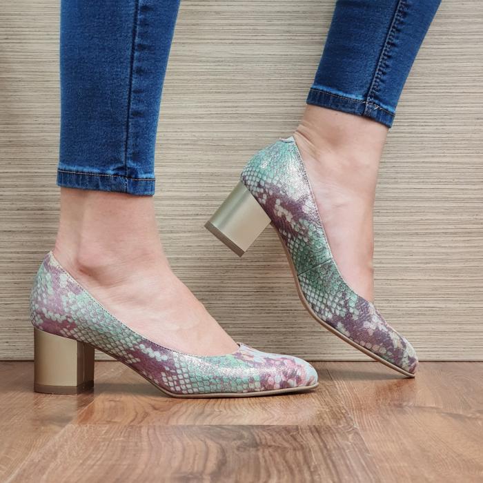 Pantofi cu toc Piele Naturala Multicolori Emma D02330 1