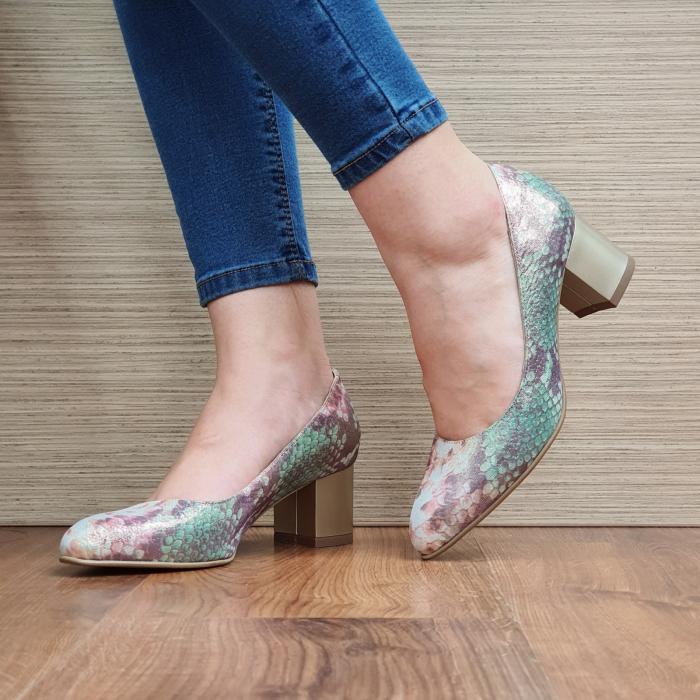 Pantofi cu toc Piele Naturala Multicolori Emma D02330 0