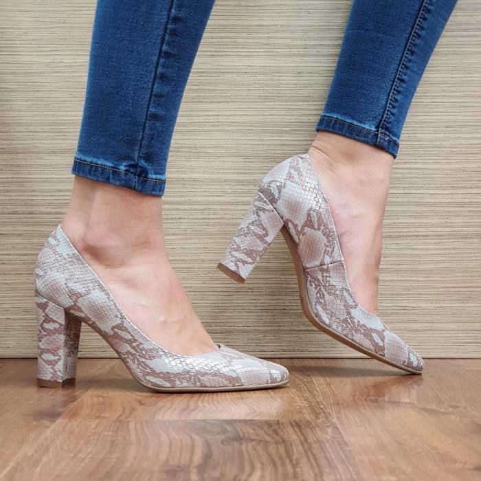 Pantofi cu toc Piele Naturala Crem Ariana D02332 [0]