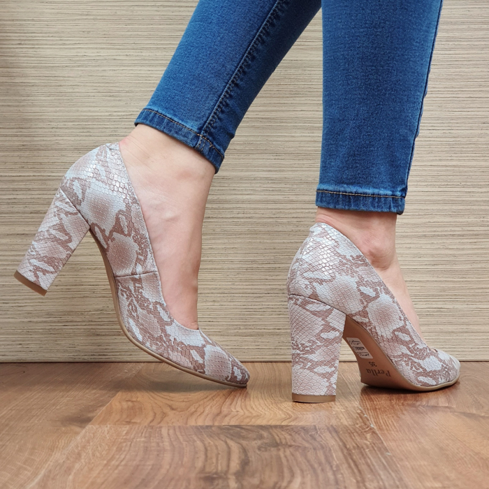 Pantofi cu toc Piele Naturala Crem Ariana D02332 [3]