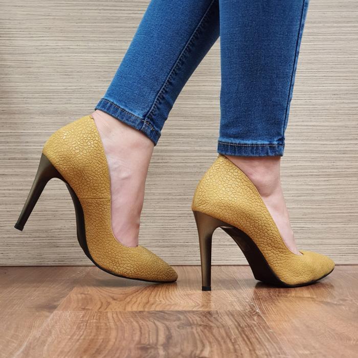 Pantofi cu toc Piele Naturala Mustar Darcia D02333 3