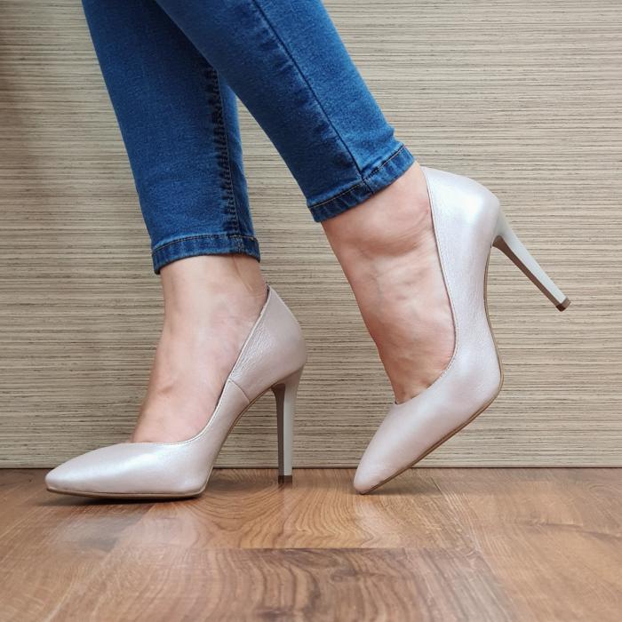 Pantofi cu toc Piele Naturala Bej Darcia D02334 2