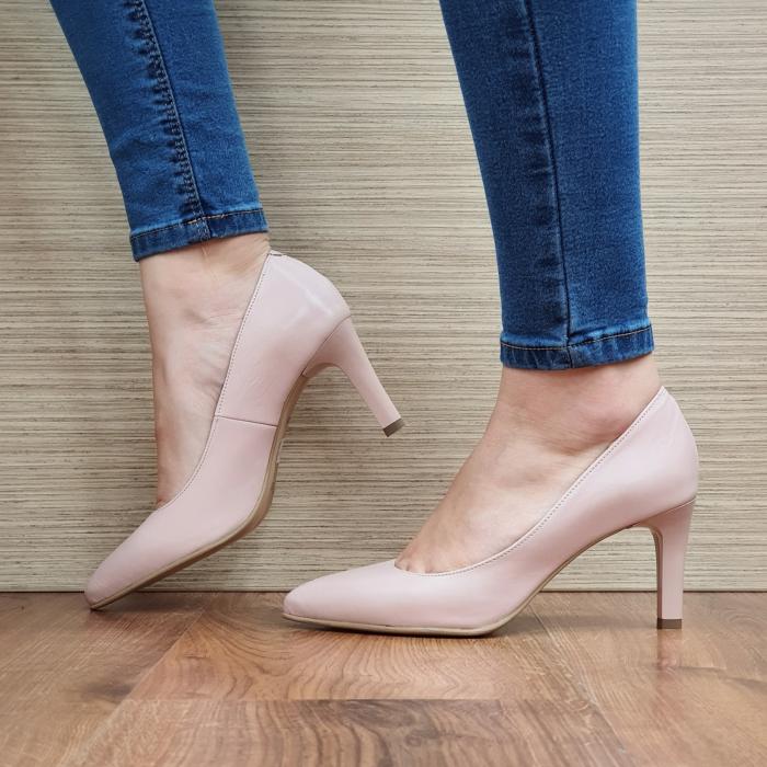 Pantofi cu toc Piele Naturala Nude Isabella D02335 2