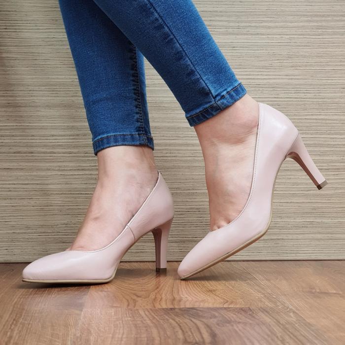 Pantofi cu toc Piele Naturala Nude Isabella D02335 0
