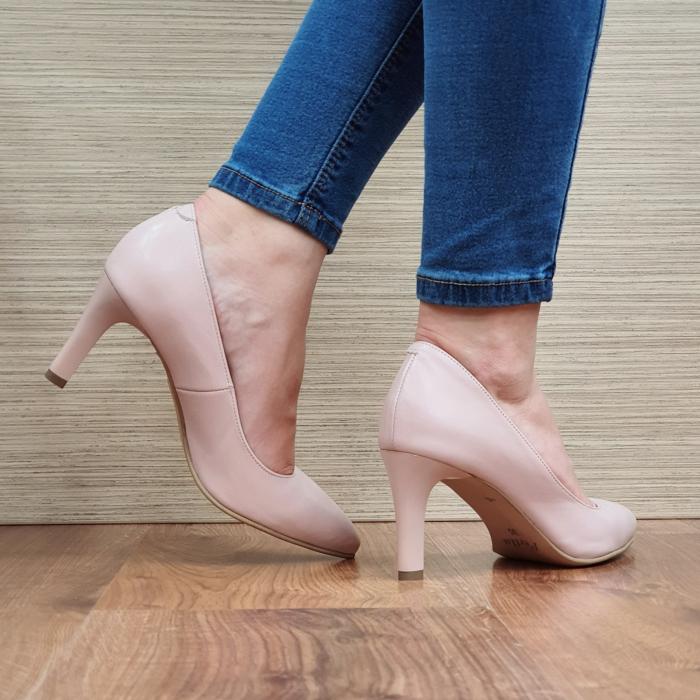 Pantofi cu toc Piele Naturala Nude Isabella D02335 3
