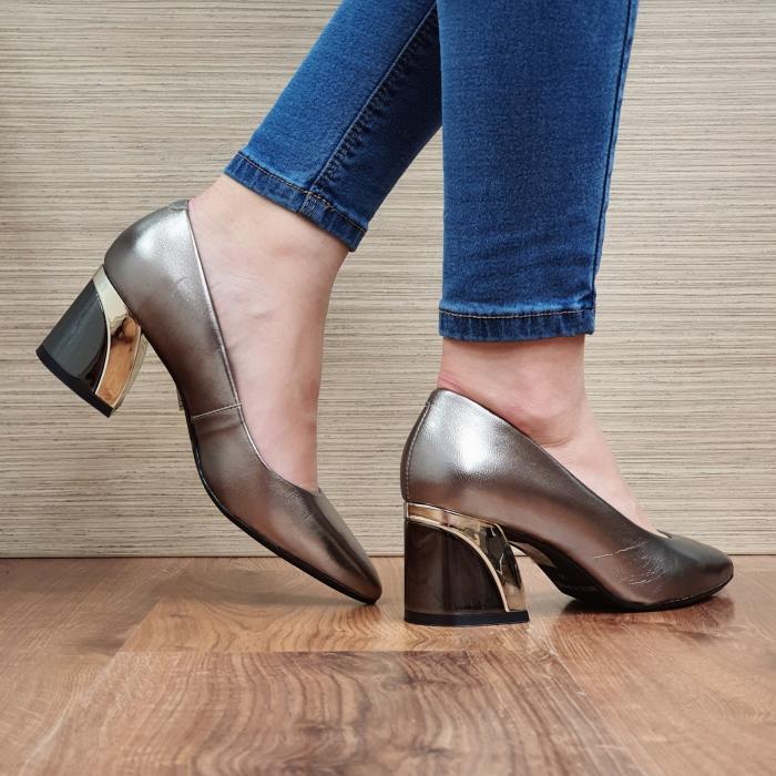 Pantofi cu toc Piele Naturala Epica Bronz Una D02336 3