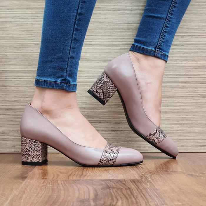 Pantofi cu toc Piele Naturala Crem Isaria D02337 [0]
