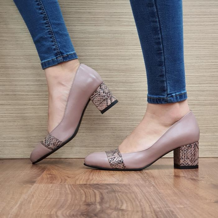 Pantofi cu toc Piele Naturala Crem Isaria D02337 [1]