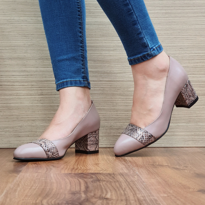 Pantofi cu toc Piele Naturala Crem Isaria D02337 [2]
