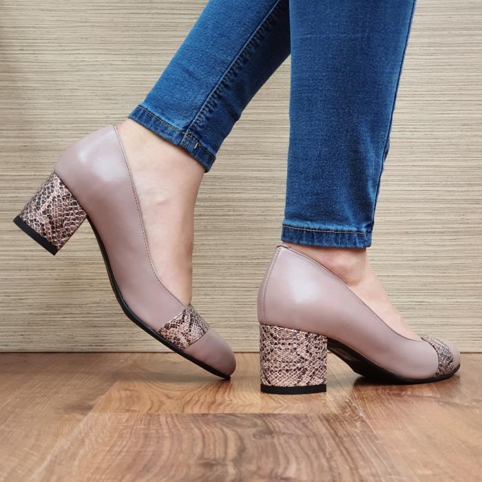 Pantofi cu toc Piele Naturala Crem Isaria D02337 [3]