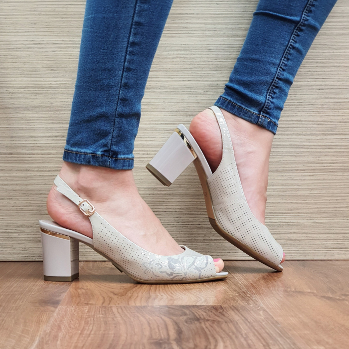 Sandale Piele Naturala Bej Laila 1