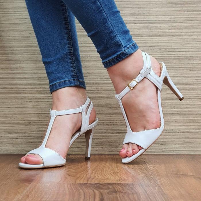Sandale Piele Naturala Guban Albe Fifi 0