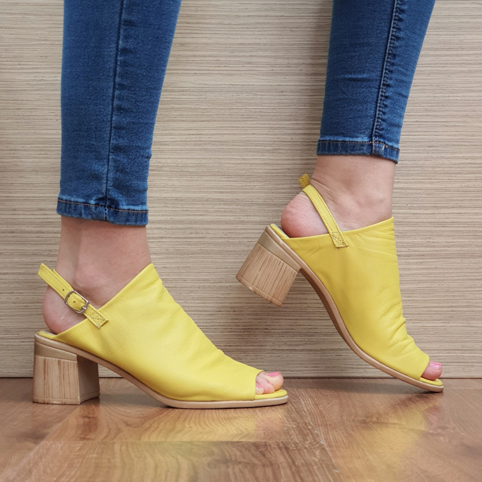 Sandale Piele Naturala Galbene Edeline 0