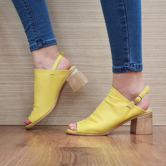 Sandale Piele Naturala Galbene Edeline 1