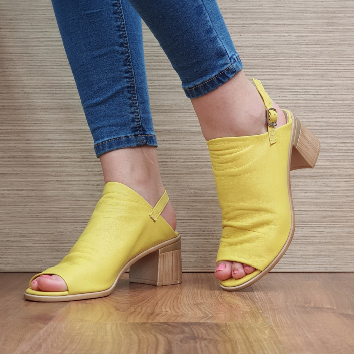 Sandale Piele Naturala Galbene Edeline 2