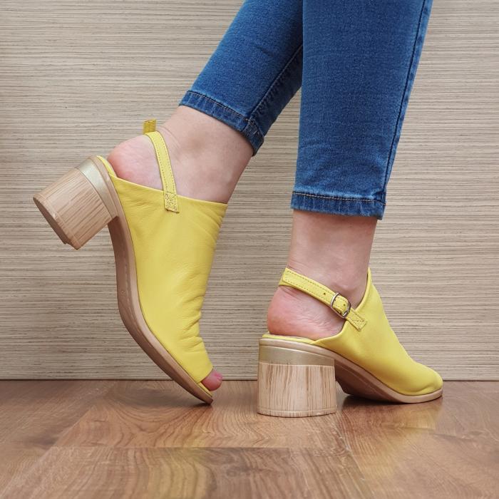 Sandale Piele Naturala Galbene Edeline 3