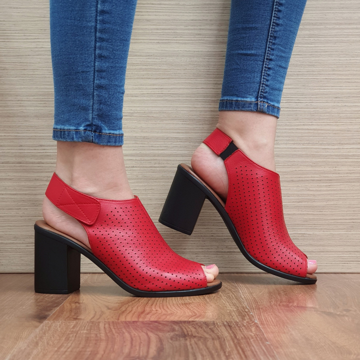 Sandale Piele Naturala Rosii Lara 0
