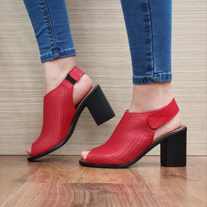 Sandale Piele Naturala Rosii Lara 1