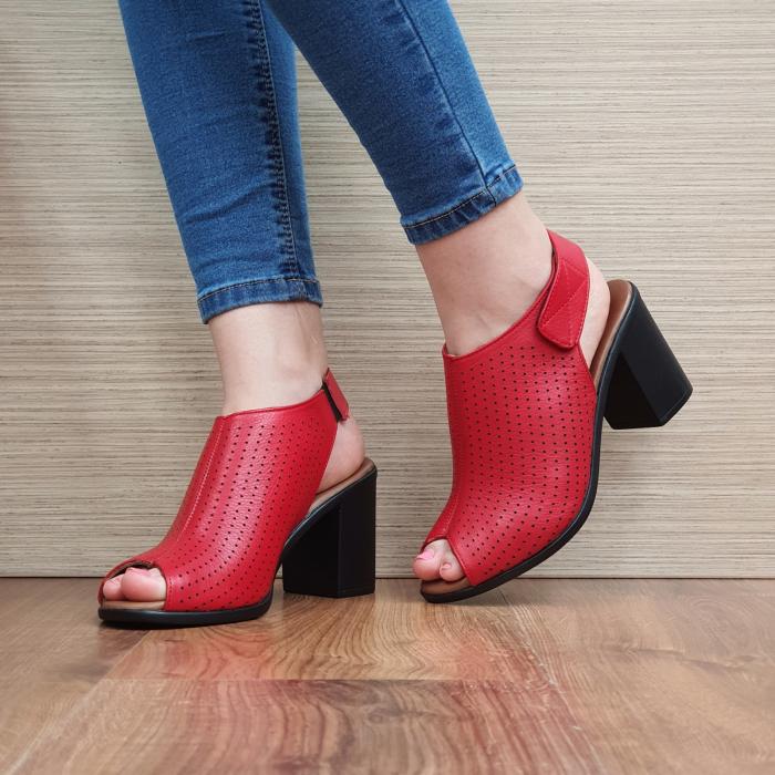 Sandale Piele Naturala Rosii Lara 2