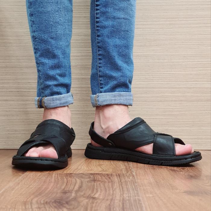 Sandale/Papuci Barbati Piele Naturala Negri Avram B00054 2