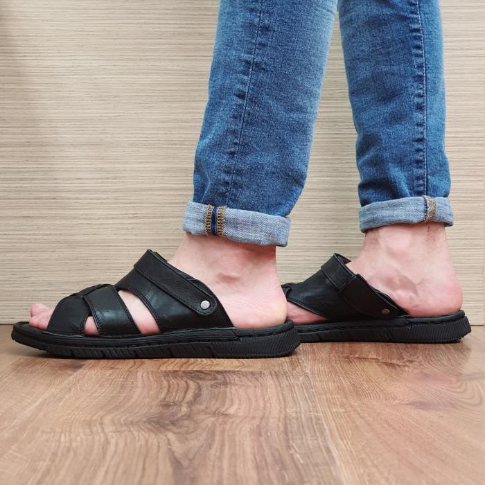 Sandale/Papuci Barbati Piele Naturala Negri Avram B00054 5