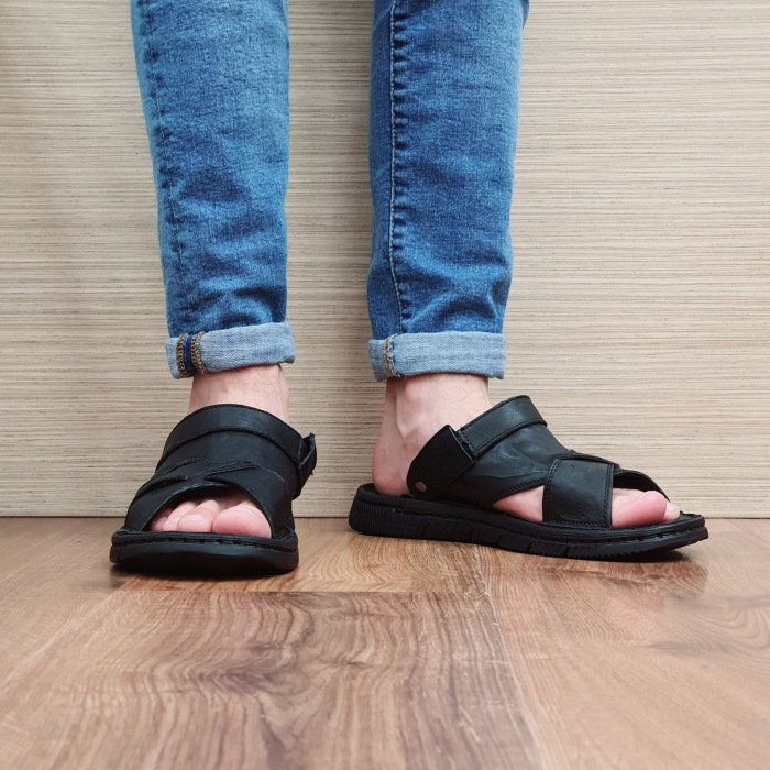 Sandale/Papuci Barbati Piele Naturala Negri Avram B00054 6