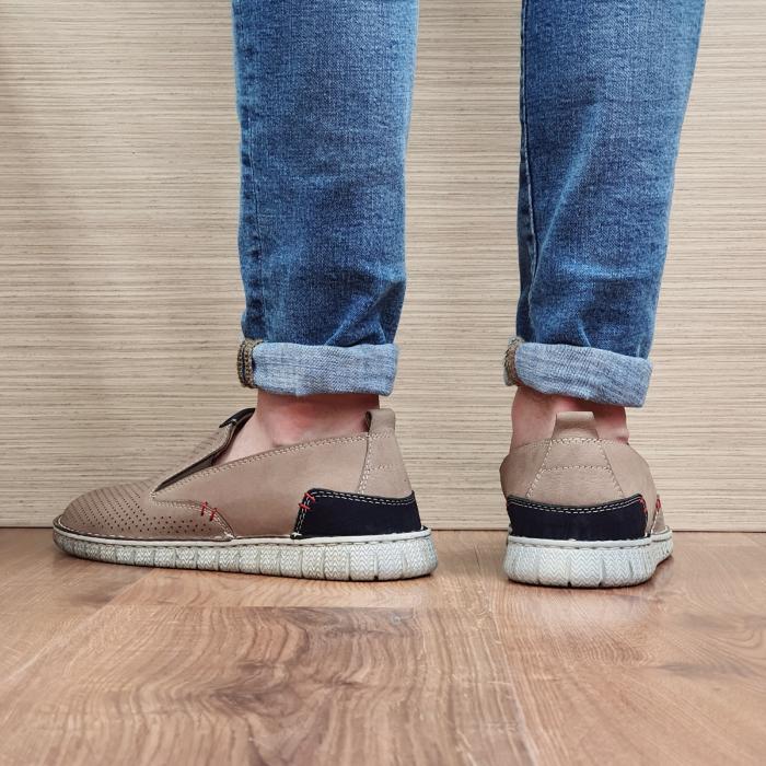 Pantofi Casual Barbati Piele Naturala Bej Amir B00056 3
